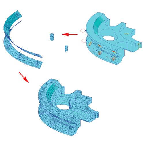 Рис. 13. Формирование КЭ-сетки для внутреннего кольца подшипника