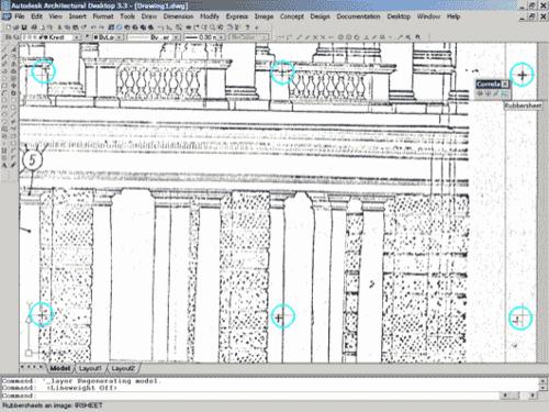 Рис. 1. Исходный нетрансформированный растровый файл фасада. Обратите внимание, что сетки растровых и векторных крестов не совпадают. Такой файл непригоден для проектирования