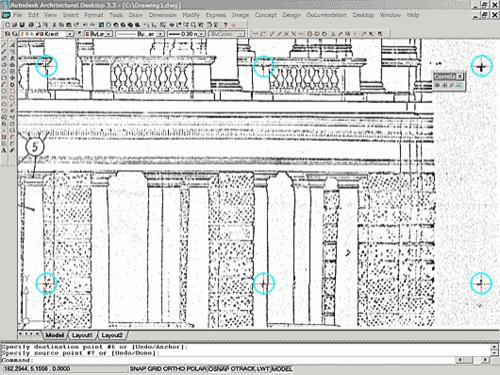 Рис. 2. Трансформированный растровый файл фасада. Теперь сетки растровых и векторных крестов совпадают и файл годится для работы