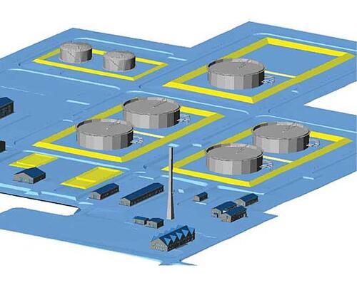 Рис. 1. Фрагмент компоновки в среде Autodesk Civil 3D 2006 головной НПС с резервуарным парком