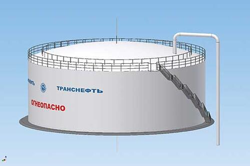 Рис. 3. Трехмерная параметрическая модель вертикального стального резервуара со стационарной крышей