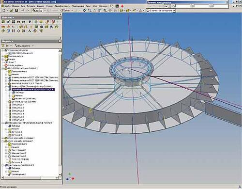 Рис. 6. Модель сборки укрупненных щитов сферической крыши резервуар