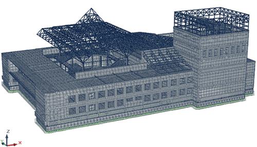 Рис. 5. Общий вид расчетной модели здания театра в Горно-Алтайске