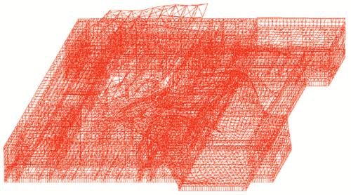 Рис. 10. Деформированная схема здания без системы РМСО с усиленными конструкциями наземной части (10-я форма колебаний)