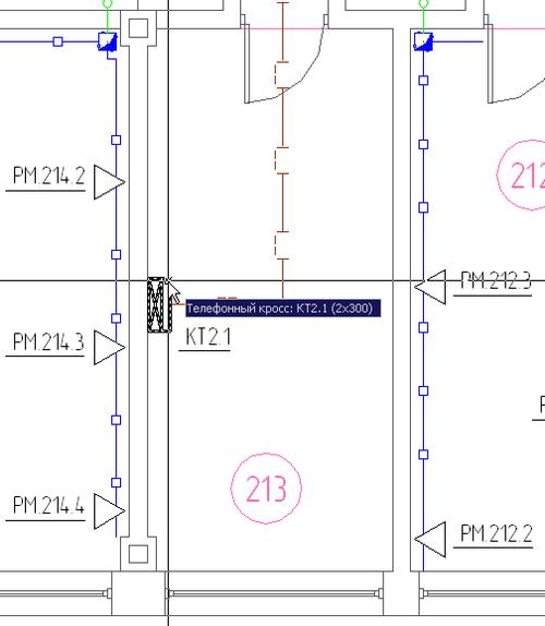 Рис. 1г. Распределительные пункты этажа и здания на планах этажей