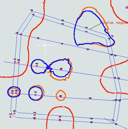 Рис. 4. Границы выхода грунтов на дно хранилища