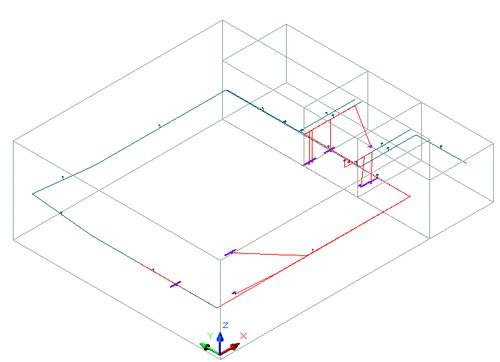 Рис. 9. Фрагмент трехмерной модели кабельной раскладки с оттрассированными кабелями