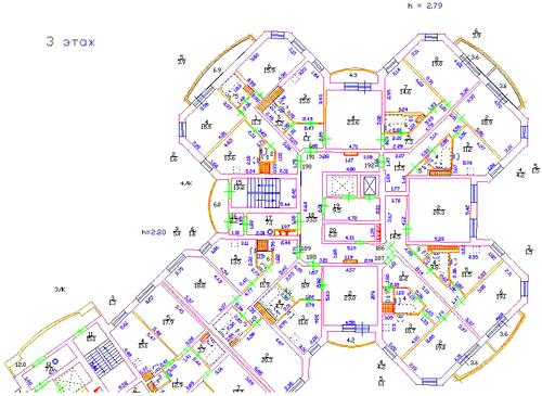 Фрагмент поэтажного плана, выполненный в программе PlanTracer