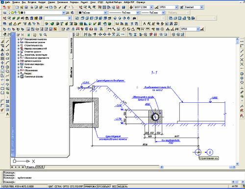 Рис. 1. Пример создания чертежа с использованием инструментальной палитры Менеджера объектов