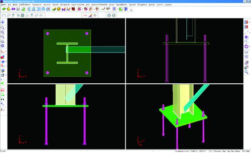 Рис. 5а. Интерактивный режим для моделирования узловых сборок. Узел основания колонны (До...)