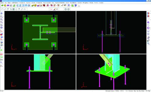 Рис. 5б. Интерактивный режим для моделирования узловых сборок. Узел основания колонны (После...)
