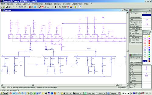 Рис. 1. Ввод исходных данных для расчетов токов КЗ (модуль EnergyCS для расчета ТКЗ)