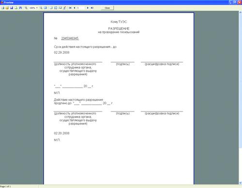 Печатная форма документа разрешения
