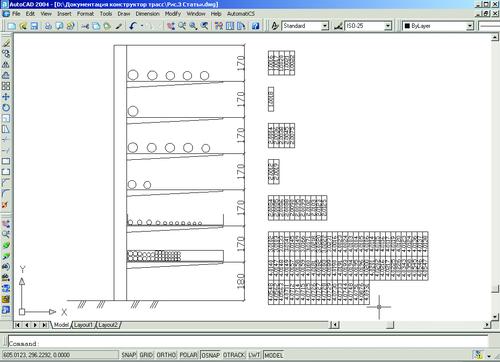 Рис. 7. Результат вывода кабельных конструкций и позиций кабелей на план