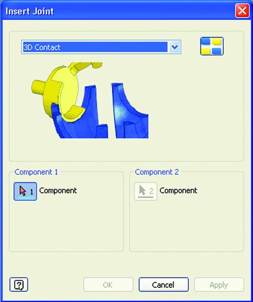 Рис. 4. Наложение связей (3D-контакт)