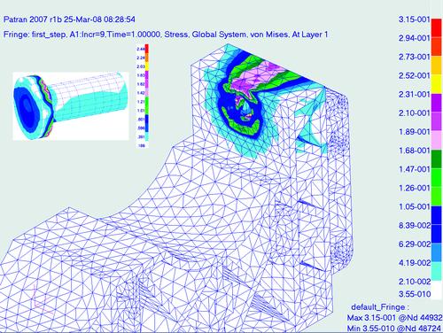 Рис. 7. Распределение эквивалентных напряжений по Мизесу (кг/мм2) в консоли на момент полной затяжки винта