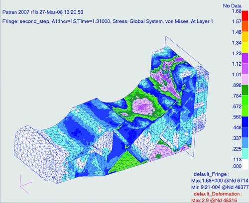 Рис. 8. Распределение эквивалентных напряжений (кг/мм2) при полной рабочей нагрузке