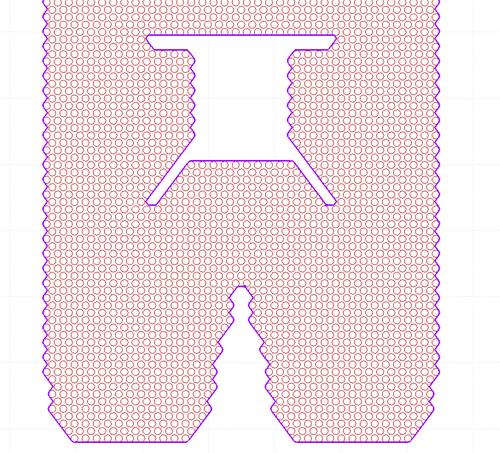 Рис. 4. Заполнение области отверстиями