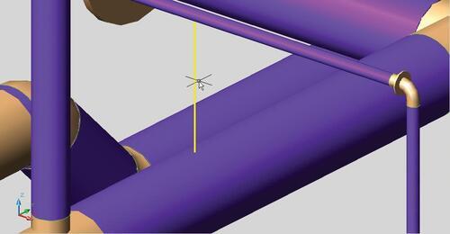 Рис. 3. Подсистема поиска коллизий Model Studio CS обнаружила и показала на трехмерной модели нарушение допустимого расстояния