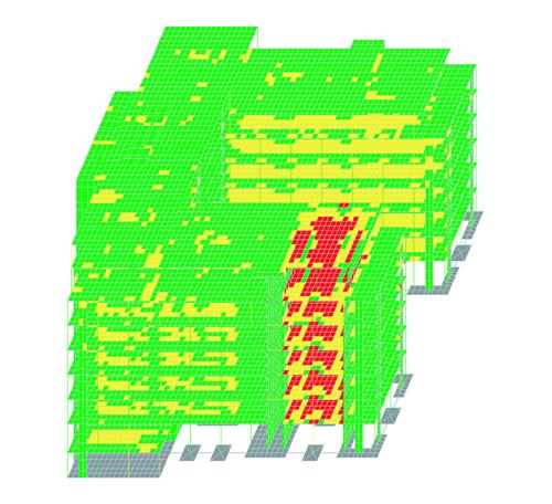 Рис. 3. Результаты расчета на прогрессирующее обрушение в трехцветной шкале (осторожная оценка)