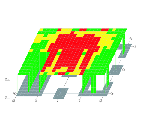 Рис. 4. Результаты расчета в зоне обрушившейся колонны по оси 9/В (красный цвет соответствует вышедшим из строя элементам при осторожной оценке)