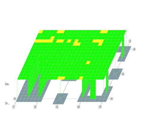 Рис. 5. Результаты расчета в зоне обрушившейся колонны по оси 9/В с учетом геометрической нелинейности