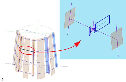 Рис. 3. Пример локального каркаса ригельной сборки в фасадном витраже