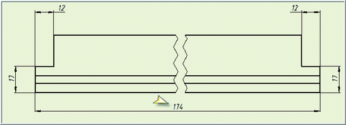 Рис. 5. Ассоциативный чертеж ригеля в библиотечной сборке отражает длину детали до установления связи локального каркаса сборки с главным каркасом (200 - 2х13 = 174 мм)