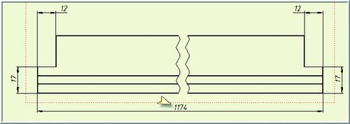 Рис. 9. Длина детали на чертеже ассоциативно связана с текущей величиной межосевого расстояния в каркасе (1200 - 2х13 = 1174  Такую схему построения многоуровневой каркасной модели мы называем «каркас в каркасе». Эта схема обладает рядом достоинств. Во-первых, главный каркас избавляется от огромного количества эскизов, рабочей геометрии и параметров, которые выносятся на уровень локальных каркасов. Количество одних только параметров модели уменьшается на порядок. Глобальный каркас оставляет за собой связь с внешними переменными проекта и теперь содержит только те параметры и геометрию, которые необходимы ему для управления независимыми параметрами локальных каркасов компонентов главной сборки. Во-вторых, построение моделей подсборками обеспечивает существенный выигрыш во времени по сравнению с работой на уровне отдельных деталей. В-третьих, «малой кровью» удается получить по крайней мере часть типовой чертежной документации. Если библиотечные подсборки и детали проработаны тщательно, работа с ними на уровне главной сборки уже не требует от пользователя изощренных навыков, унифицирует процедуры построения моделей, упрощает коллективную работу над проектом, а также передачу проекта от одного сотрудника другому и снижает порог вхождения в технологию нового персонала. Каркасная технология позволяет распараллеливать проектирование непосредственно не связанных между собой частей общей конструкции. Хорошим примером области применения многоуровневых каркасных сборок является проектирование фасадных витражей сложной пространственной геометрии, особенности которых довольно подробно рассмотрены в статье, опубликованной ранее [8]. Заключение Каркасное моделирование является мощной и достаточно гибкой технологией создания сложных сборок в среде Autodesk Inventor. К преимуществам многоуровневых схем «каркас в каркасе» следует отнести высокую производительность создания больших сборок, возможность получения типовой чертежной документации и существенное - на порядок - упрощение мод