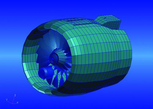 Рис.4. Модель воздушно-реактивного двигателя для исследования явления обрыва лопатки и расчета динамических характеристик