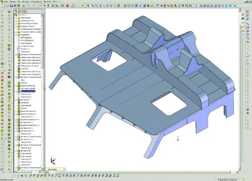 Рис. 6. 3D-модель надстройки катера с фундаментом под захват СПУ на крыше (модель и расчет прочности выполнены инженером-конструктором 1-й категории А.В. Касьяновым)