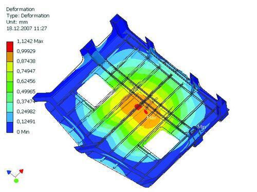 Рис. 7. Один из вариантов отчета, сгенерированный Inventor Professional. Показаны деформации надстройки при поднятии катера СПУ на борт судна