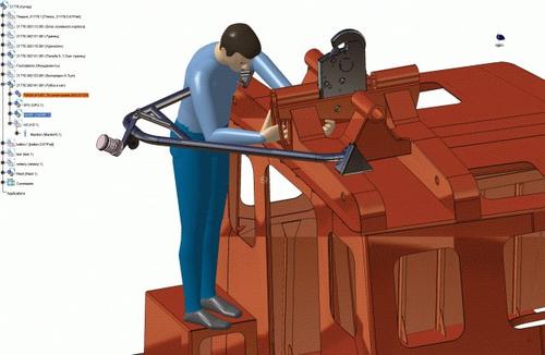 Рис. 15г. Проверка возможности обслуживания СПУ при заваливании мачты
