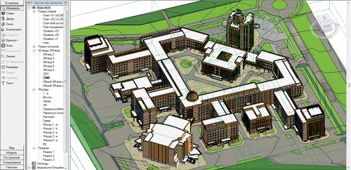 Рис. 2. Сборная модель комплекса зданий НГУ - окончательный вариант