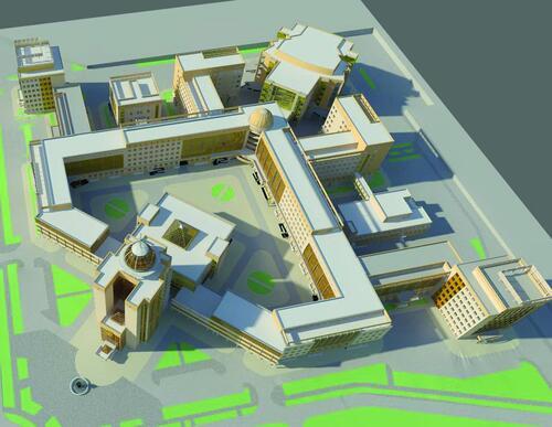 Рис. 3. Комплекс зданий главного учебного комплекса НГУ (ГУК НГУ) - общий вид сверху