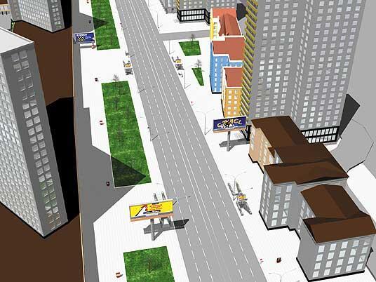 Новый Арбат и рекламные щиты на одной из центральных улиц Москвы (3D-графика Владимир Симкин)