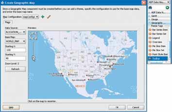 Рис. 9. Окно разработки JDeveloper 11g Create Geographic Map и набор компонентов