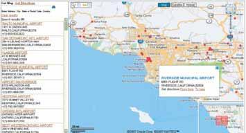 Рис. 10. Поиск аэропортов в Южной Калифорнии