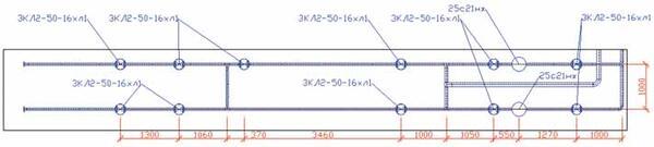 Проекция с осевыми линиями трубопроводов и автоматически проставленными размерами и выносками