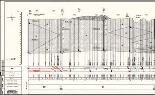 Рис. 8. Продольный разрез профиля по трассе ВЛ с данными по геологии