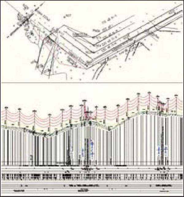 Рис. 9. Профиль и план - два представления одной трассы на 220 кВ