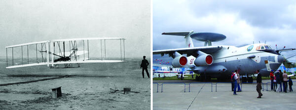 Рис. 2. Слева – самолет братьев Райт (1903); справа – российский самолет А-50 на авиасалоне МАКС-2009