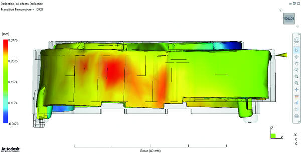 Деформации литьевой детали при усадке и короблении