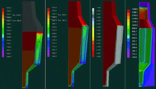 Рис. 2. Результаты решения в СКМ ЛП ProCAST тепловой задачи для процесса заливки слитка 142 т: а - температуры в слитке через 16 мин. от начала заливки; б - температуры в слитке по завершении заливки на 26 мин.; в - доля твердой фазы, выделившейся на момент завершения заливки; г - температурное поле формы на момент завершения заливки