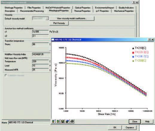 Рис. 4. Реологические свойства полимерного материала в базе данных Autodesk Moldflow 2012