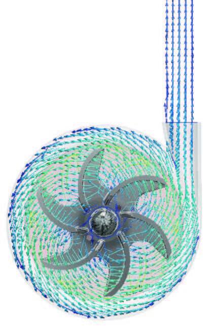 Векторное распределение скорости в проточной части центробежного насоса