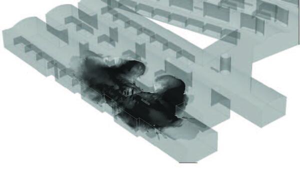 Моделирование распространения дыма в подземном паркинге