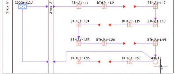 nanoCAD ОПС 4.0. Отображение кольца с ответвлением на структурной схеме