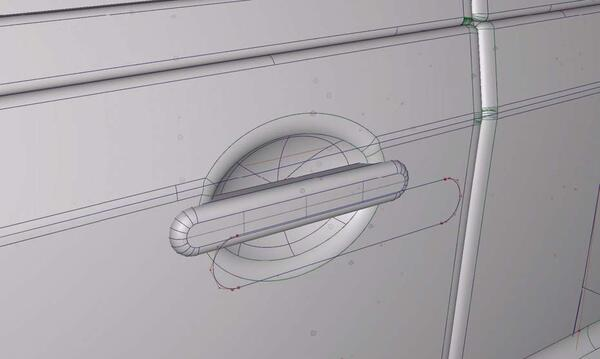 Рис. 7. Фрагмент модели углубления для ручек