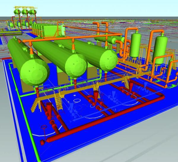 Рис. 1. Проект обустройства газонефтяного месторождения. Установка подготовки нефти. Модель выполнена в программном комплексе Model Studio CS Трубопроводы